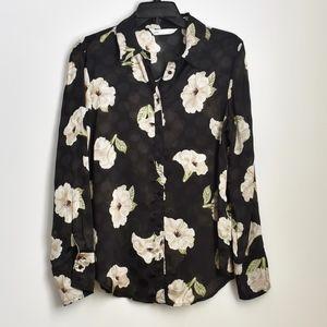 Zara Black Floral Button Down Blouse